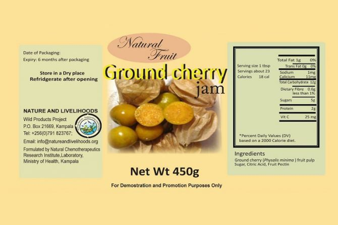 Label for the jam from Physalis single fruits, with the results of nutritional composition analysis