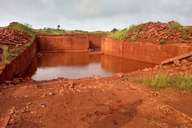 A quarry site in the laterite hill