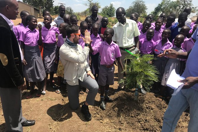 Tree planting by pupils of a primary school in Amuria district