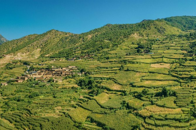 The landscape of Youmi Village, Yunnan