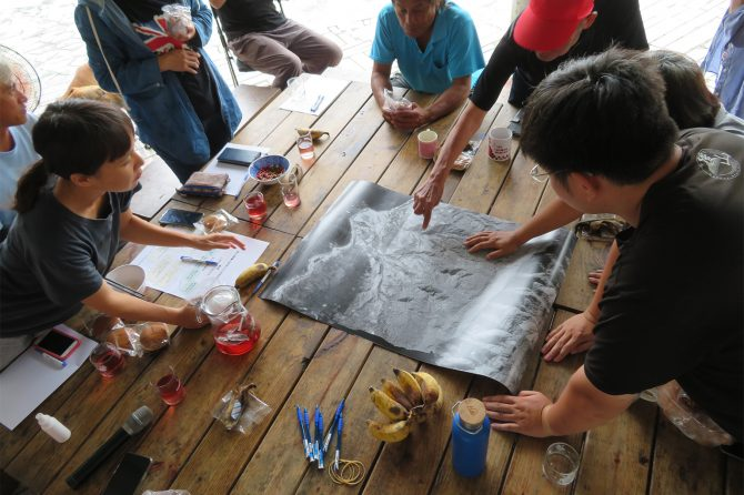Participatory mapping with local community members of Fuxing Tribe in Xinshe SEPLS, Hualien County, Taiwan